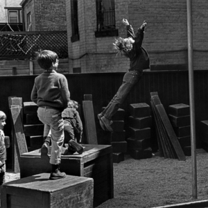 VI Jumps Off Outdoor Block in Pebble Yard, 1964-65