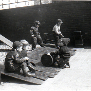 Children Play with Boards and Barrels, 1949