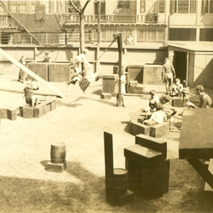 Children Playing on Outdoor Equipment in Yard, 1930s